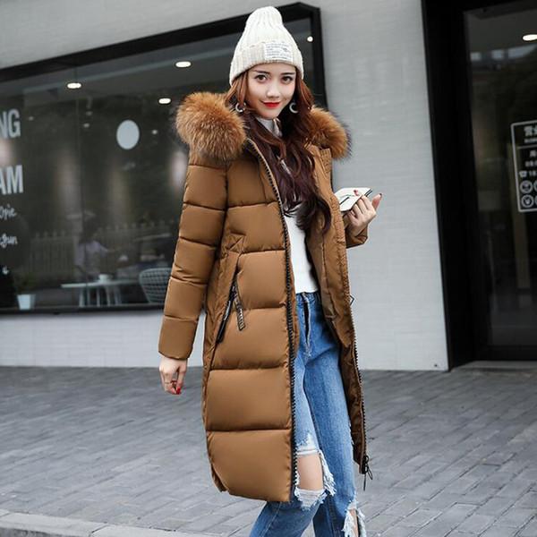 2018 겨울 큰 칼라와 여성 다운 코트 두건 디자인 따뜻한 잠금 효과 패션 2pcs