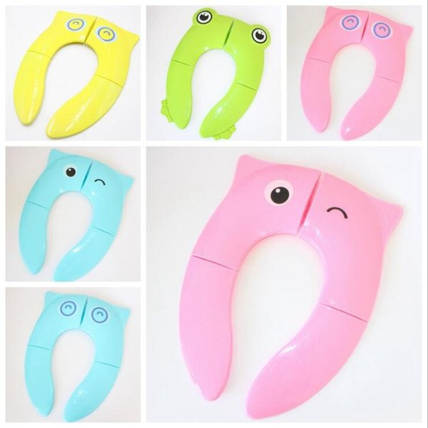 Cartoon Toilet Seat Mats Owl Potty Seat Cover Toddler Soft Auxiliary Toilet Pad Foldable Candy Color Safety Silicone Training Seat LXL456A