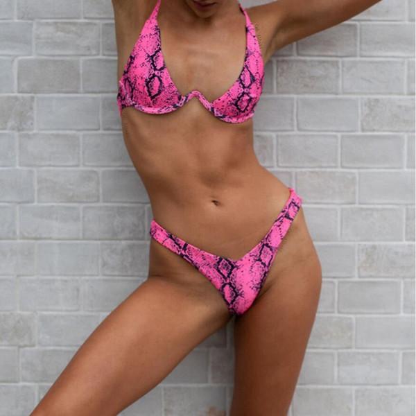 64afe2f2782 Sexy Snakeskin Print Push Up Brazilian Bikini Set Triangle Bikinis Women Thong  Swimwear Biquini Swimsuit maillot