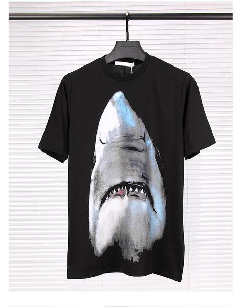 Algodão Premium Mercerized Masculina Tubarão Preto Cabeça Impresso T-shirt De Luxo Solto Verão Masculina de Manga Curta T-shirt Da Moda Juventude EUR
