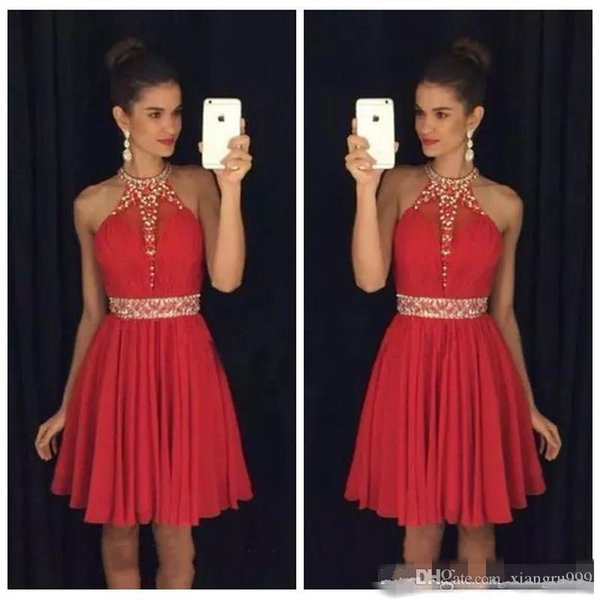 Waishidress Halter Red Chiffon Homecoming Dress Beaded Crystal Short Backless Custom Made A-Line Cocktail Party Gowns