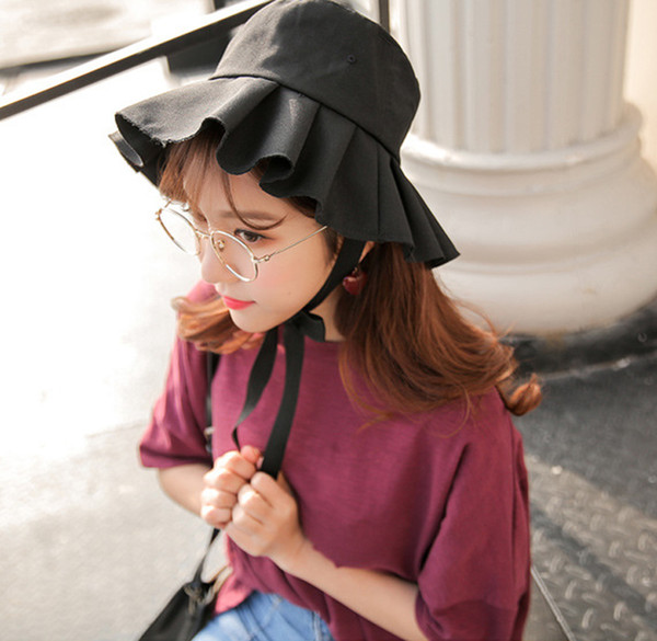 New fashion ladies sun hat wrinkle hem casual hat outdoor girls travel vacation fisherman sunhat free shipping sale