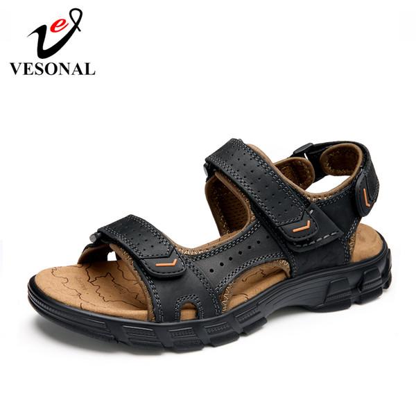 VESONAL 2019 Sommer Qualität Echtes Leder Out door Schuhe Männer Sandalen Für Männer Klassische Wasser Zu Fuß Strand Alias Sandale