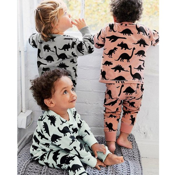 Children Dinosaur Cartoon Pajamas For Boys Sleepwear Kids Pajamas Long Sleeve Kids Sleepwear cartoon sleepwear pajamas sets LJJK1861