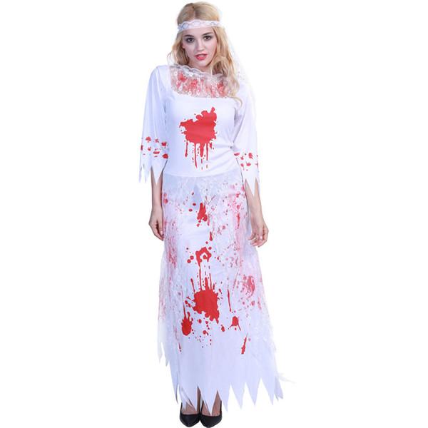 Phantom Gelin Cadılar Bayramı Kostümleri Yeni Moda Cadılar Bayramı Korkunç Tulum Sahne Uzun Kollu Tam Parti Stagewear