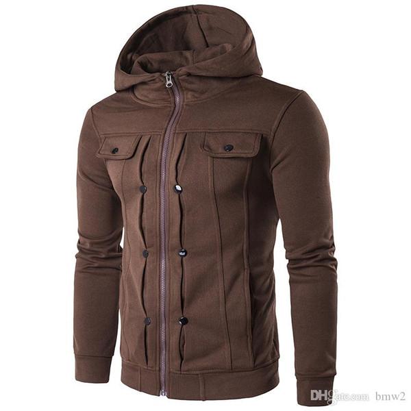 2017 Autumn Fashion Street Taschen Dekorative Schnalle Sweatshirt Männer Zipper dünne dünne All-macth Marken-Kleidung 5 Farben XXX