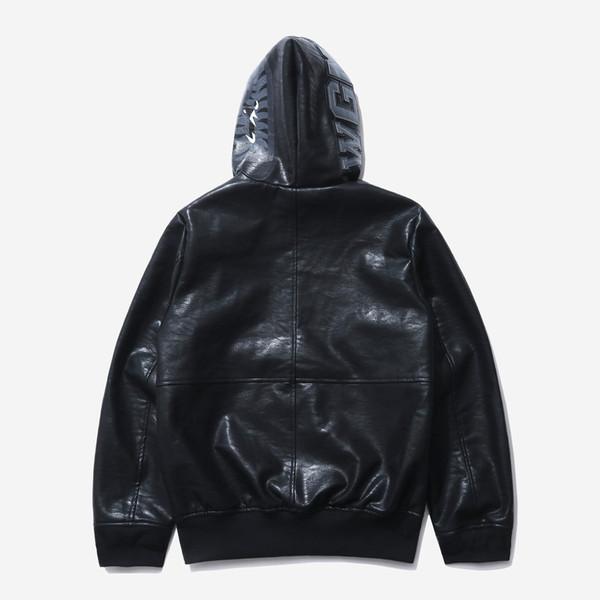 19ss nuevo estilo para hombre chaqueta casual sección delgada PU ropa de cuero con capucha casual hombres diseñador chaquetas streetwear ropa masculina traje superior