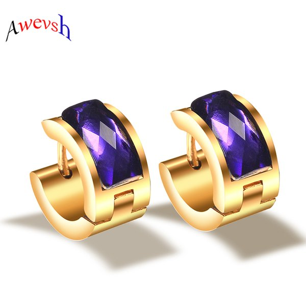 20pairs wholesale Stainless Steel Big Blue Crystal Earrings Hoop Studs Couple Brincos Earrings for Women Men Jewelry