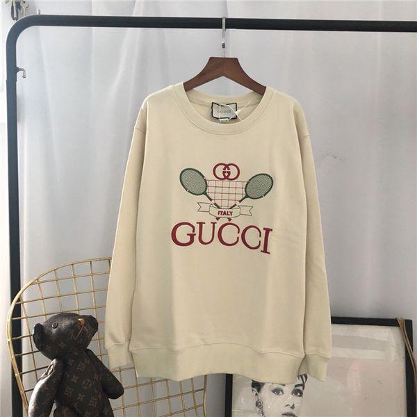 19ss Yeni lüks marka tasarım tenis raketi nakış Kazak hoodie Erkek Kadın Moda casual Streetwear Tişörtü Açık gömlek G8888
