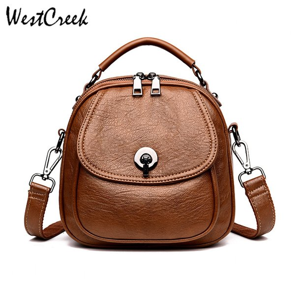 1cfb2b7199d WESTCREEK Brand Casual Small PU Leather Backpack Women Shoulder Bag Girl  Anti Theft Backpack Travel Bag Lady Purse Swiss Gear Backpack Osprey ...