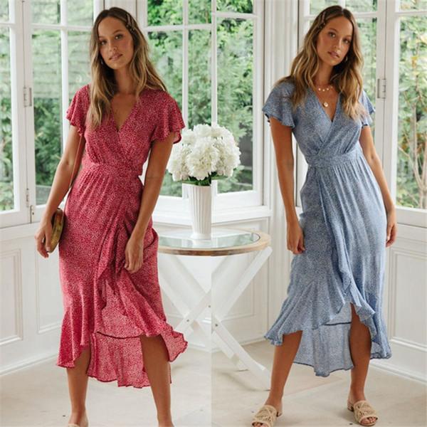 дизайнер женщины летнее платье Лето Горячий Новый европейский и американский небольшой цветочный v-образным вырезом с коротким рукавом шнуровка размер платья доступны S до XL