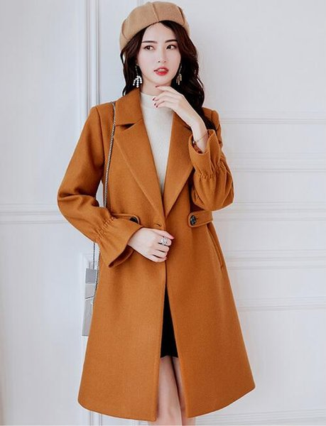 03 free shipping 2018 autumn and winter new Korean casual trend solid color woolen coat large size ladies woolen coat