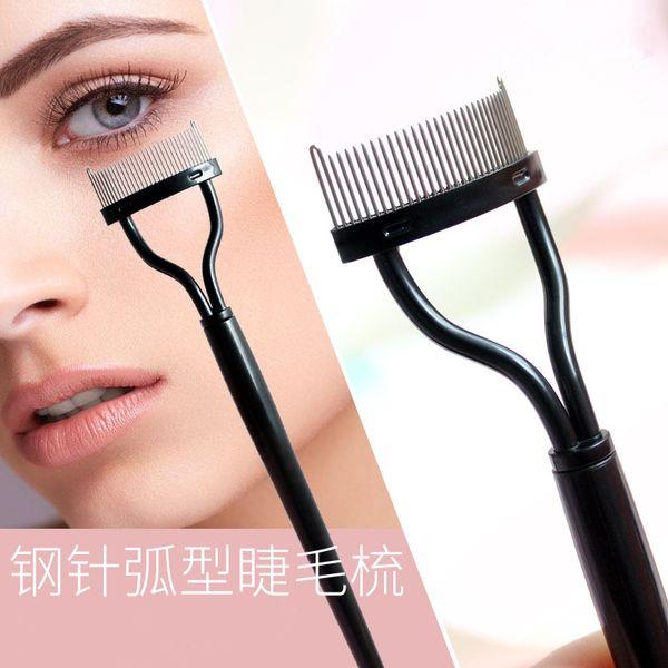 Semi-arc Black Stainless Steel Steel Needle Eyebrow Comb Eyelash Comb Beauty Tool Portable Auxiliary Makeup Tools