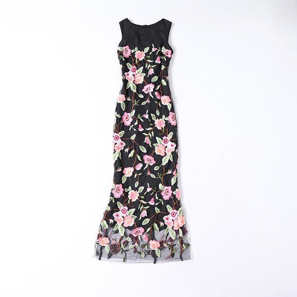 2019 Spring Summer Sleeveless Crew Neck Floral Print Embroidery Mesh Long Maxi Dress Luxury Runway Dresses MAY2018M5
