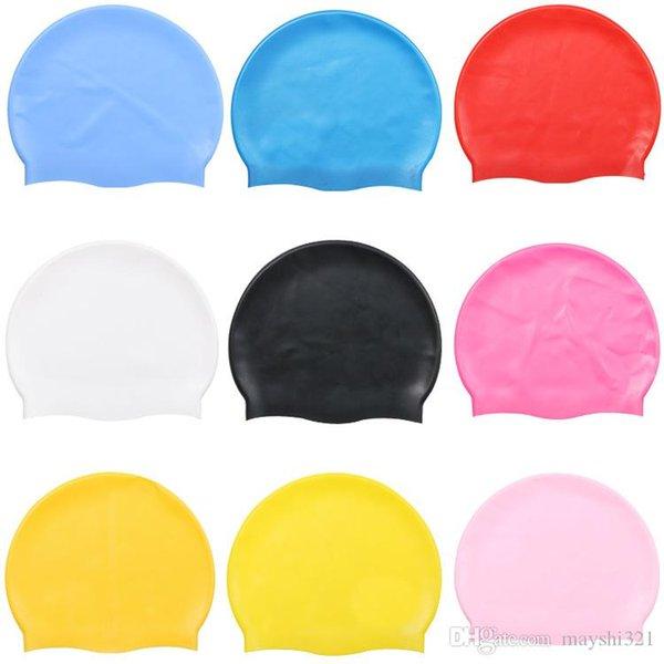 Adulto Silicone Natação Caps flexíveis Durable Waterproof natação chapéus para homens e mulheres Unisex impressão do logotipo