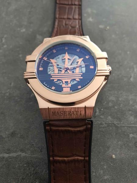 NUEVO Reloj de carreras de autos deportivos Cool Cool de cristal de zafiro Reloj MASERATI Relojes de lujo para hombres Cuero dorado rosa Reloj deportivo automático