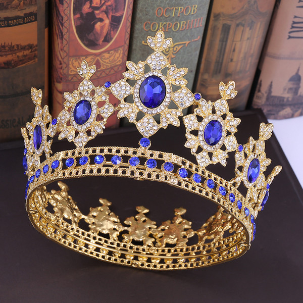 best selling Blue Crystal Queen Full Round Crowns Baroque Royal King Rhinestone Big Tiaras Headpieces Princess Wedding Jewelry Gifts