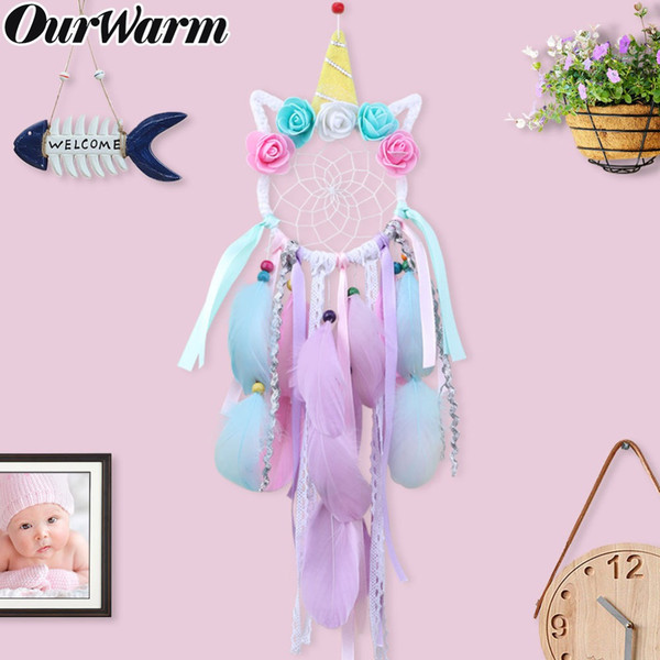 Cheap DIY Decorations OurWarm Handmade Unicorn Dream Catcher Party Favors New Style Home Decoration Birthday Party Gift for Children