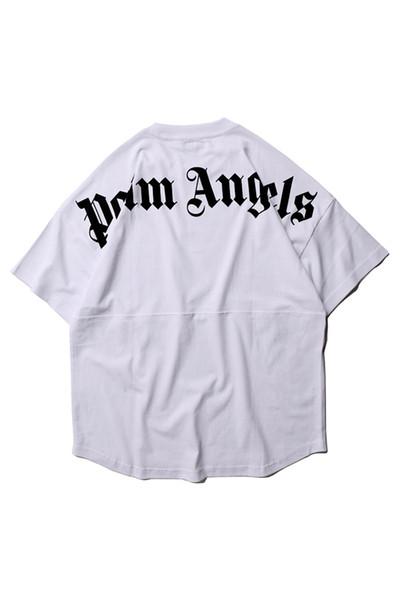 Palm Angels Mens été lettre imprimée T-shirt à manches courtes ras du cou Hip Hop Style Mode lâche Relaxed Homme Chemises