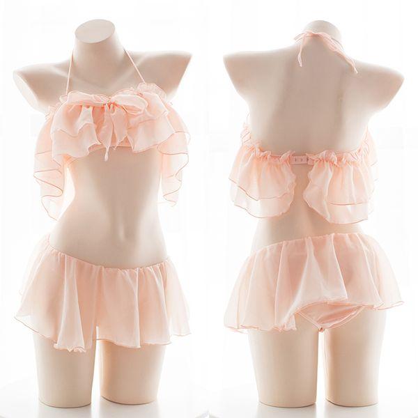 Black White Pink Underwear Pajama Set for Women Chiffon Lotus Leaf Off Shoulder Sexy Bra Panty Kawaii School Girl Lingerie Sets