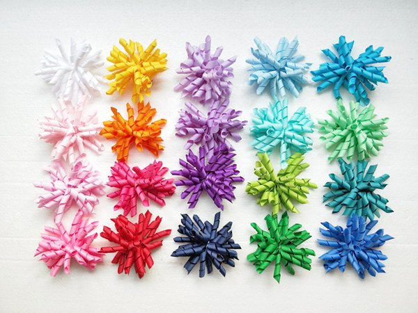 20pcs girl's baby curlers ribbon hair bows flowers clips corker hair barrettes korker ribbon hair ties bobbles accessories PD007