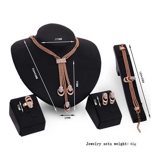 Special European and American Bride High-end Gold Bracelet Ring Earrings Necklace Set Decoration Four-piece Jewelry Female Gift