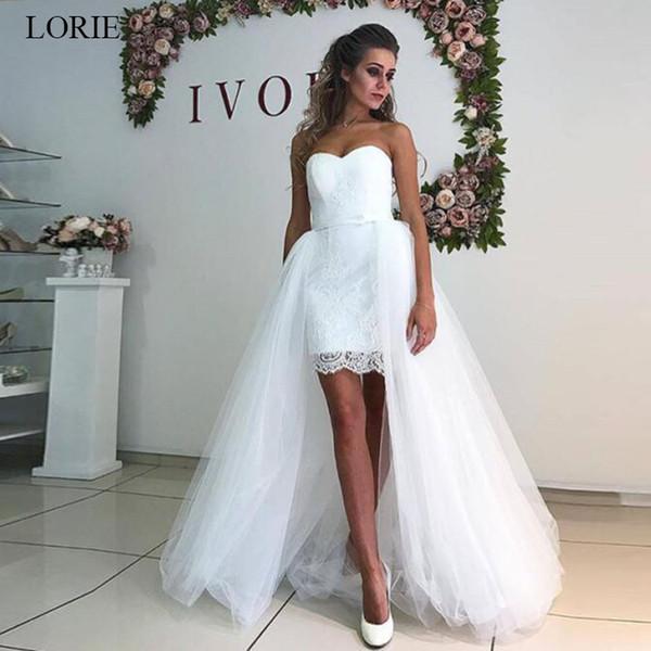 Custom Appliques Simple Removable Skirt Sheath Wedding Dress Lace Tulle Detachable Train Two Pieces Long Bridal Gowns Vestido de Noiva