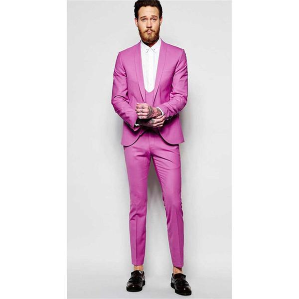 Custom Made Hot Pink Slim Fit Trajes de Boda para Hombre Novios Esmoquin El Mejor Hombre de Baile Trajes de Fiesta para Hombres (Chaqueta + Chaleco + Pantalones) Y320
