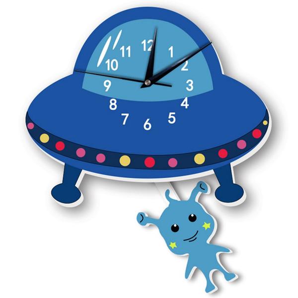 Melhor Venda Dos Desenhos Animados Silencioso Alienígena Swing Relógio de Parede Adesivos Para Kidroom Babyroom Corredor Quarto Decoração
