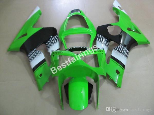 Cheap injection mold plastic fairings for Kawasaki Ninja 636 ZX6R 03 04 green black motorcycle fairing kit ZX6R 2003 2004 MT30