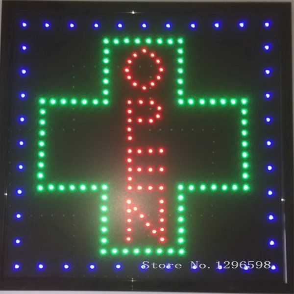 CHENXI New arriving led pharmacy cross sign graphics 15mm pixels indoor Led Business Shop Open Neon Sign 19x19 Inch no animation