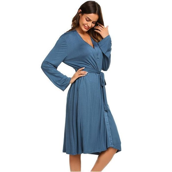 Sleep Women Robes Nighties Long Sleeve Solid Kimono Robe Nightgown Spa Bathrobe Sleepwear Dressing Gown Female Homewear