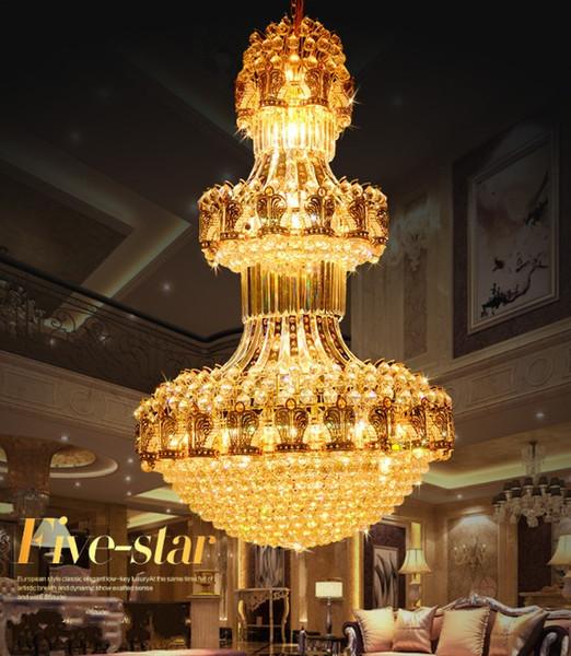 LED Crystal Light modern luxury villa penthouse floor golden hotel lobby hollow large lamp gold Chandeliers LLFA