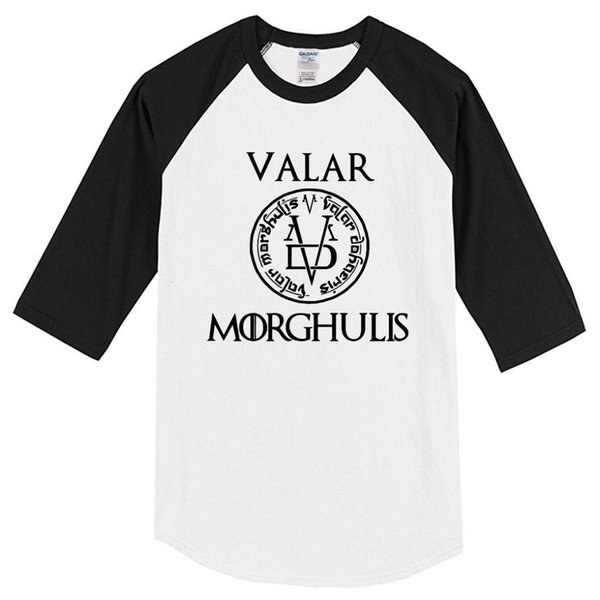 Men's T-shirt Summer 2019 Casual Three Quarter Sleeve Cotton Print VALAR MORGHULIS Fashion Harajuku T Shirt Tops