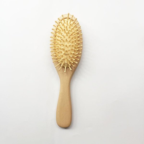 2019 Oval Wooden Big Size Comb Wooden Paddle Nylon Bristle Teeth Natural Hair Brush Antistatic Cushion Bamboo Hair Brush For Women