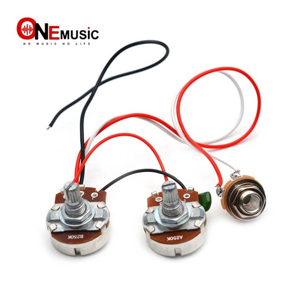 top popular PB Bass Wiring Harness Prewired Kit for Precision Bass Guitar Big 250K Pots 1 Volume 1 Tone Jack 2019