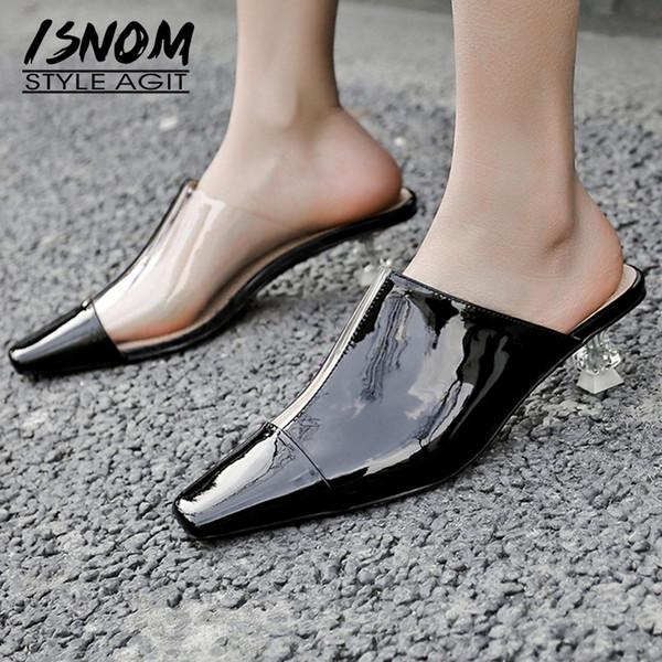 ISNOM Chinelos De Couro Mulher Toe Quadrado Calçado Pvc Slides Transparentes Moda Cristal Heel Sapatos Altos Sapatos Femininos Mulas Mulheres