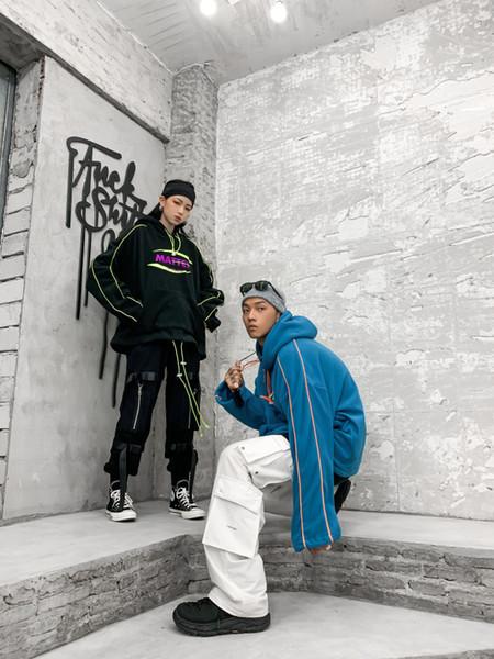best selling Tide hip hop tide  embroidery fluorescent drawstring fleece loose hooded Sweatshirts Hoodies men's couples Pullover Streetwear