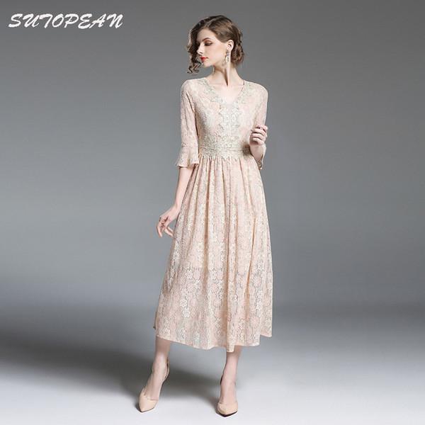 Compre Telas De Qualidade Sutopean Verão Vintage Mulheres Vestido De Renda Apricot Splice Vestidos Longos Mulher Vestido Jurken Robe Femme Ete 2018 De