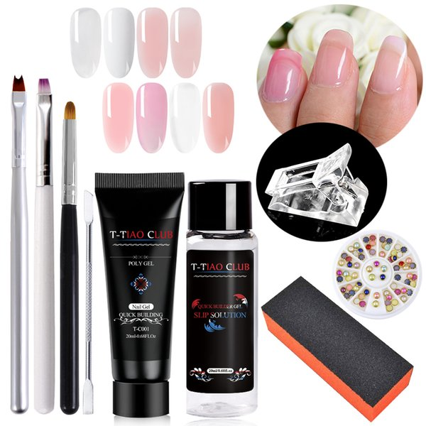 wholesale 9pcs/set Uv Gel French Nails Art Manicure Tips Nails Build Extending Crystal Jelly Gum Poly Gel Set Nail Art Tips