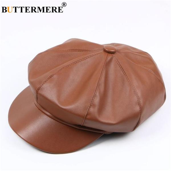BUTTERMERE Casquillo de vendedor de periódicos para mujer de cuero Sombrero de vendedor de periódicos Mujeres Primavera Marrón Casquillo octagonal Retro Marca plana Sombreros para mujeres