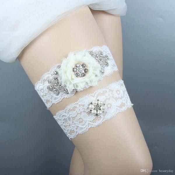 Lace Wedding Garters Set For Bride Pearls Bridal Garters Aqua Blue Chiffon Handmade Flower Rhinestones Vintage Prom Gift 2019 Cheap In Stock