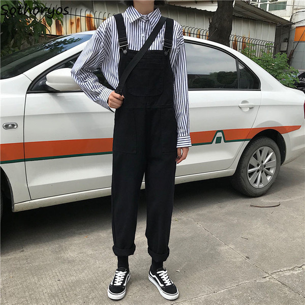 Jumpsuits Women Retro Loose Student Korean Style Strap Denim Jumpsuit Womens Fashion Simple Solid All-match Casual Chic Trousers MX190726