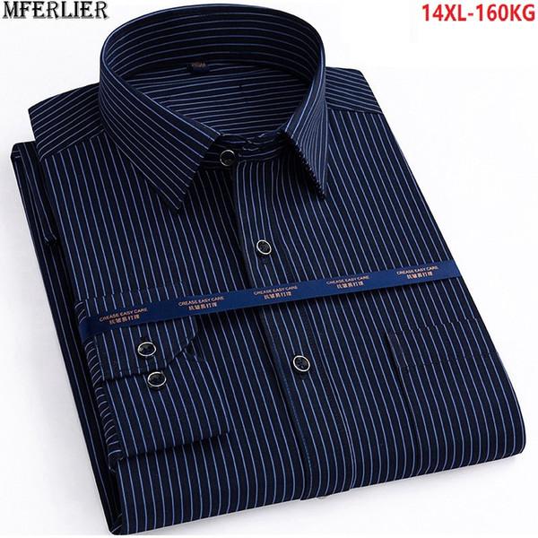 autumn men plus big size 14XL striped shirt work Business long sleeve larger 7XL 8XL Dress shirt 9XL 10XL 11XL 12XL 13XL shirts
