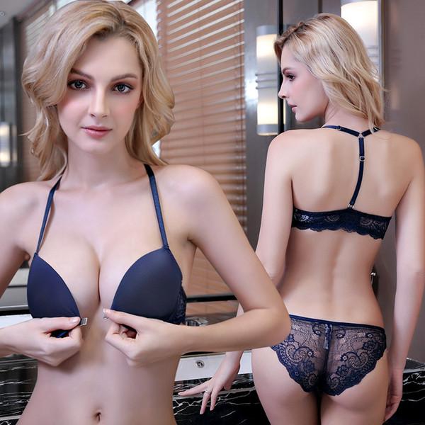 nouvelle étagère Europe et Amérique boucle en forme de Y avant réunis belle soutien-gorge arrière ensemble sexy dentelle sans soudure sous-vêtements