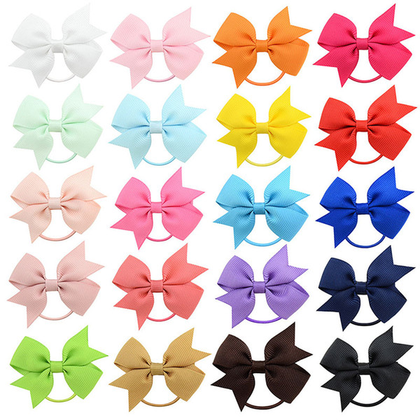 top popular Baby Ponytail Holder Elastic Rubber Band Bow Girls Hair Rope Bows hairbands Children Grosgrain Ribbon Kids Hair Accessorie 20 Colors M187 2020
