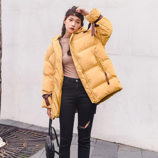Ailegogo Inverno Donne Pane cappotto del cotone Loose Fit Lace Up Casual Giacca con cappuccio Outwear Giallo Blu Rosa Giubbotti per la donna