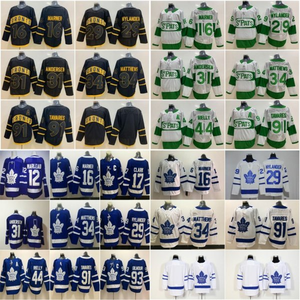 Toronto Maple Leafs Jersey Auston Matthews John Tavares Hockey Mitchell Marner William Nylander Frederik Andersen Morgan Rielly Marleau Blue