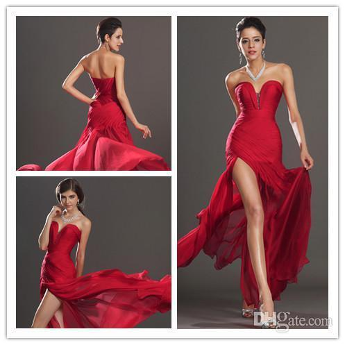 In Stock Sexy Red V-Neck Evening Dresses Sweetherat Backless Pleats Beaded Chiffon Pageant Dress Party Gown Prom Dresses