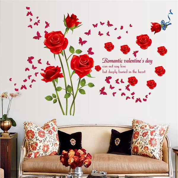 New Romantic Red Rose Flowers Wall Stickers Home Decor Bedroom TV Sofa Wall Art Mural PVC DIY Valentine's Day Poster Wallpaper